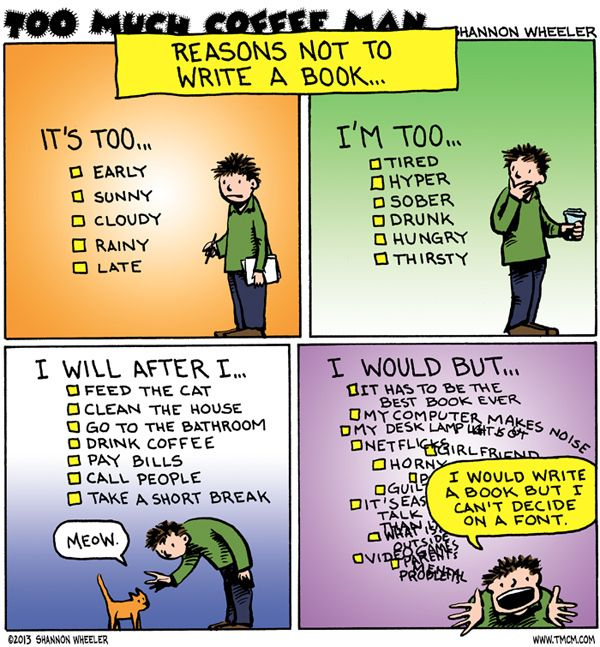 Reasons not to write a book - a comic for writers - Writers Write