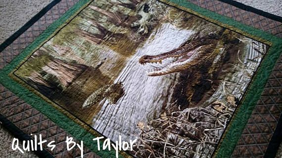Crocodile Quilt Wildlife Quilt Nature Quilt 46 X 53