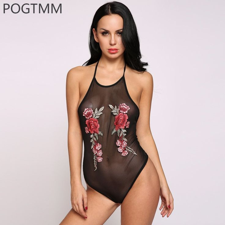 Summer Sexy Transparent Embroidery Flower Halter Bodysuit Women Off Shoulder Short Romper Jumpsuit Club Lace Mesh Tight Coverall  #dress #model #fashion #instafashion #cute #glam #fashionista #cool #shopping #sweet