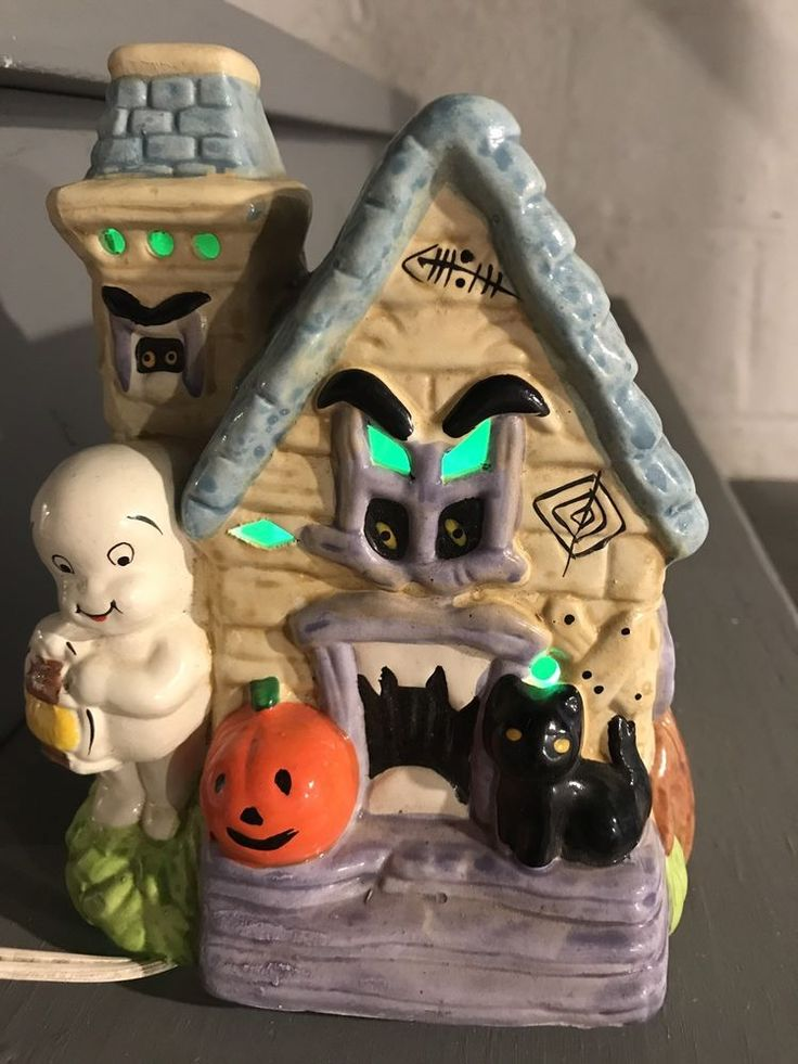 Vintage Rare '70's Halloween Casper Ghost Haunted House Ceramic Lamp Monster
