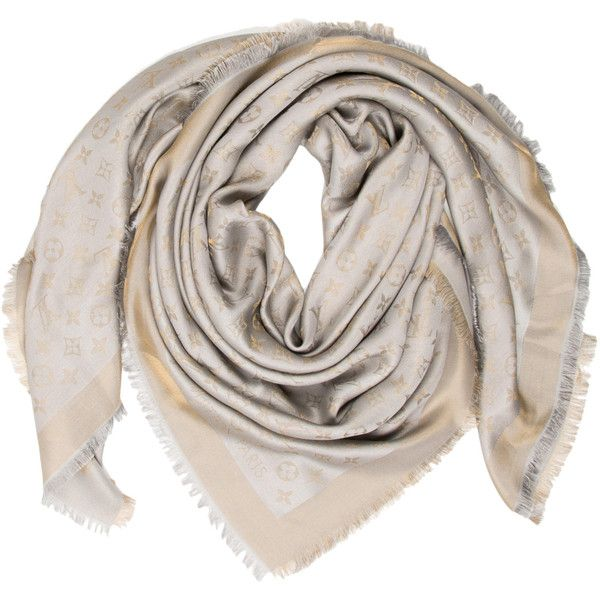 Pre-owned Louis Vuitton Monogram Shine Shawl ($495) ❤ liked on Polyvore featuring accessories, scarves, grey shawl, monogram shawl, gray shawl, gray scarves and louis vuitton