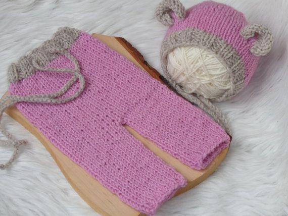 Newborn SetNewborn Pants and Bonnet..Baby Set. by knitsdwarfs