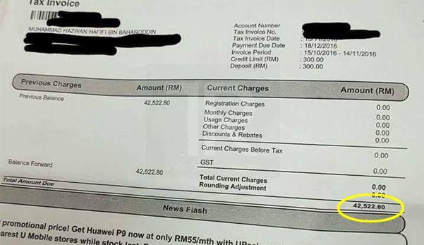 Pelanggan terkejut terima bil U-Mobile RM42522.80 ini puncanya jangan ulangi kesilapan lelaki ini!   BATU CAVES KUALA LUMPUR  Seorang pengguna rangkaian telkomunikasi terkejut apabila menerima bil berjumlah RM42522.80 kerana menggunakan data internet di Dubai selama 2-3 hari.  Pelanggan terkejut terima bil U-Mobile RM42522.80 ini puncanya jangan ulangi kesilapan lelaki ini!  Status yang dimuat naik pada 13 Januari lalu oleh Muhammad Hazwan Hafifi Baharoddin itu kini viral di media sosial…