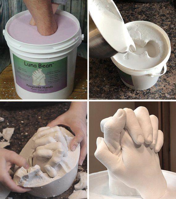 Diy Luna Bean Keepsake Hands 3d Plaster Statue Hand Casting Etsy Diy Plaster Casting Kit Mason Jar Diy