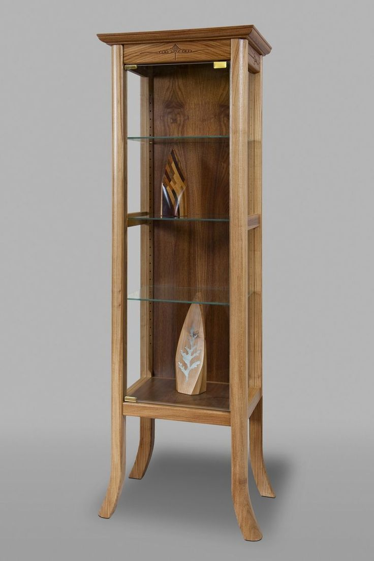 Winsome wood table double drop leaf round mission moon shape fold down - Custom Made Curio Cabinet