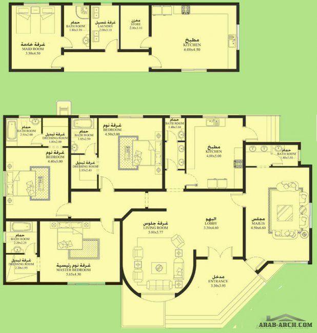 مخطط الفيلا 3 غرف نوم أبعاد المسكن 21 90م عرضx15م عمق Family House Plans My House Plans Architectural House Plans