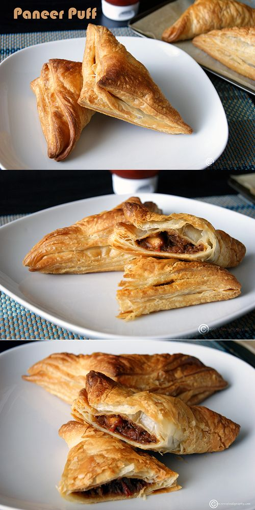 Paneer Puff - A delicious Indian Snack with a buttery and flaky crust and Indian Cottage cheese (paneer) filling. Recipe uses no butter and vegans can use firm tofu instead of paneer.