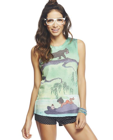 "<p>If only we could chill down the steam just as ""Mogli"" does in this timeless tank, featuring The Jungle Book™ characters printed throughout the soft knit body with a scoop neck, semi-sheer chiffon back with a sublimated print, and a round high-low hem.</p>  <p>Model is 5'9"" and wears a size small</p>  <ul> 	<li>Front: 77% Polyester / 21% Rayon / 2% Spandex - Back: 100% Polyester</li> 	<li>Machine Wash</li> 	<li>Imported</li> </ul>"