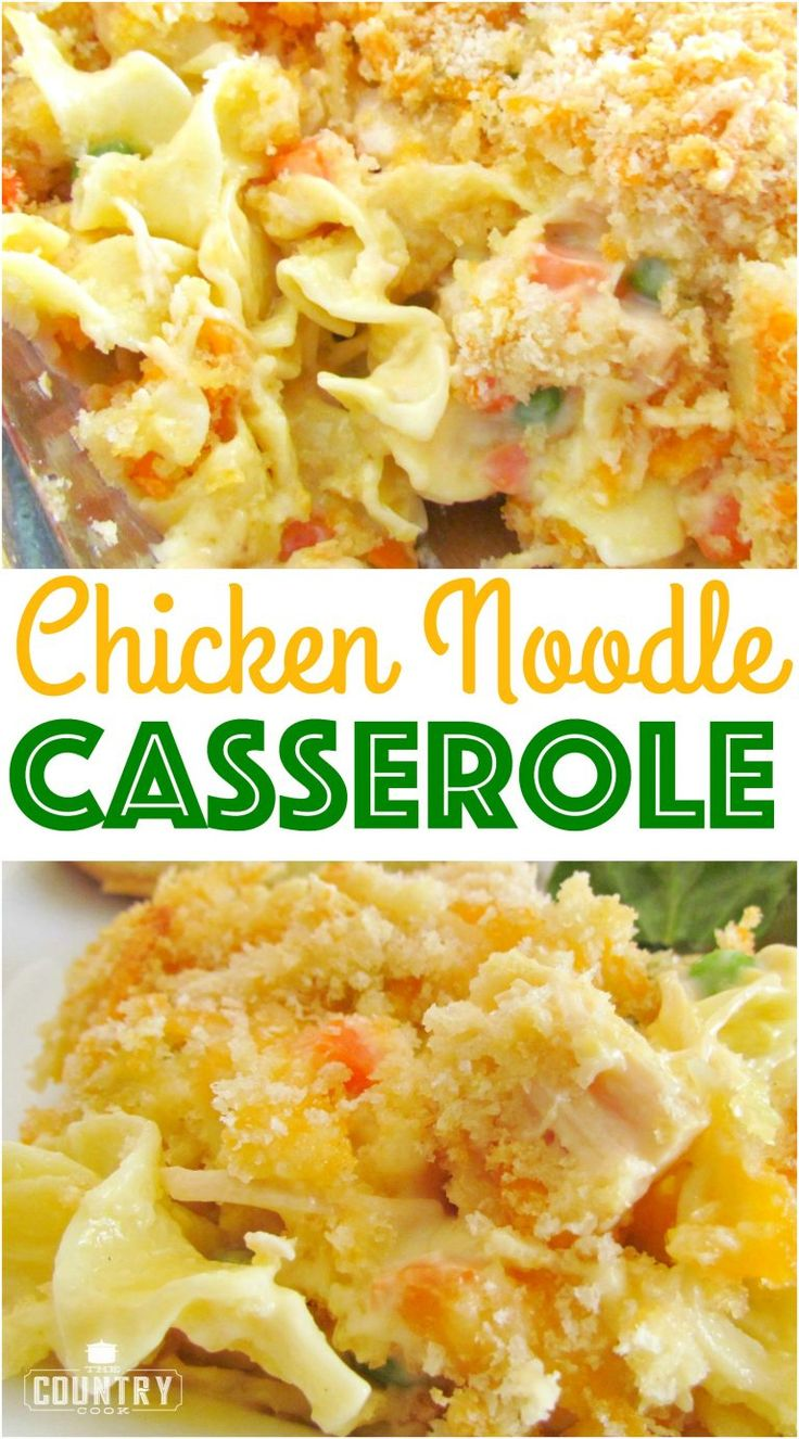 Chicken Noodle Casserole recipe from The Country Cook. Easy and a huge family favorite.