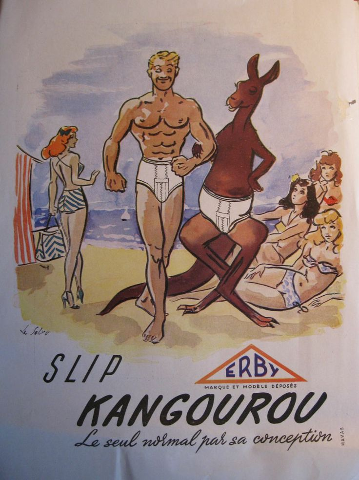slip kangourou ad - a man in briefs walks arm and arm with a kangaroo in briefs along the beach to the admiring if puzzled glances of the ladies