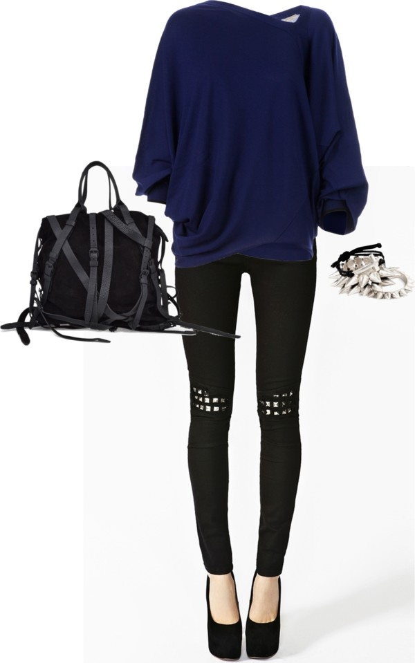 """Blue Slouchy Top, Black Skinnies & Platforms"" by shelovesmakeup on Polyvore"