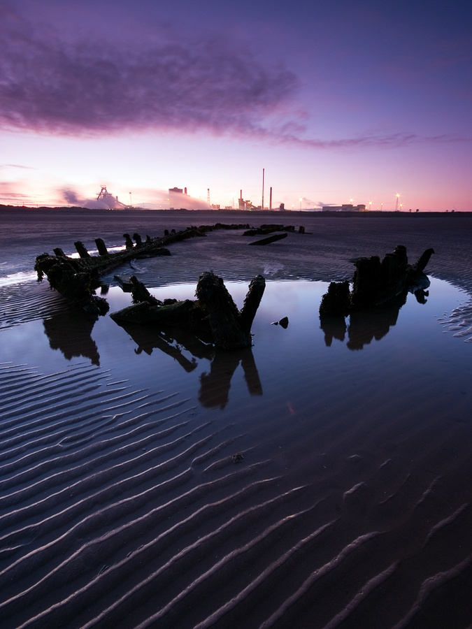 Shipwreck at South Gare. Redcar steelworks is in the background.