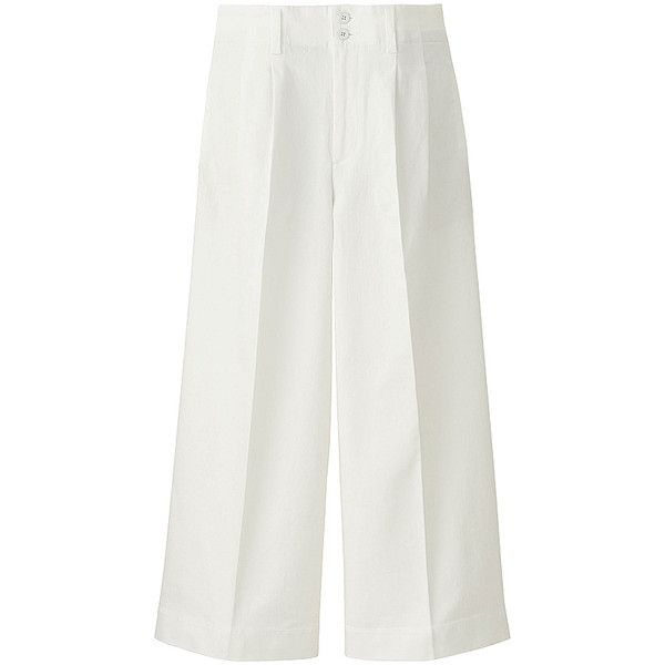 UNIQLO Denim Wide Leg Trousers ($50) ❤ liked on Polyvore featuring pants, white wide leg pants, uniqlo pants, white wide leg trousers, wide leg denim pants and denim trousers