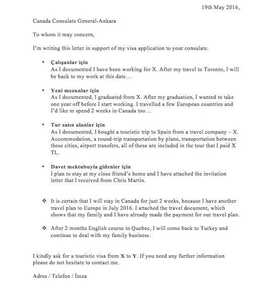 Vize Bavurusu Niyet Mektubu  Canada Visa