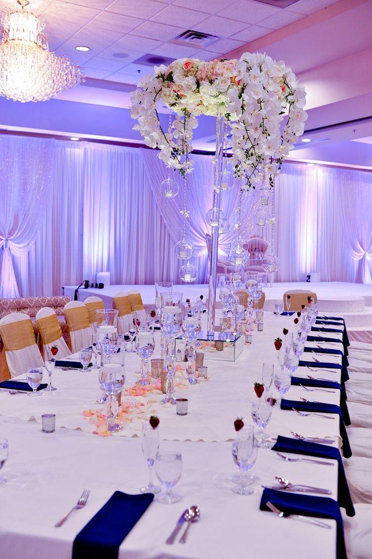 elegant black and white wedding reception design | cherry blossom branches and tea light baubles | Gujarati Indian Wedding Chicago | Kalpesh Gandhi Photos