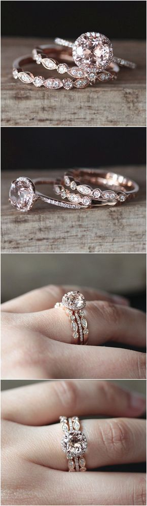 VS 7mm Round Cut Natural Morganite Ring Set 2PCS Art Deco Half Eternity Diamond Wedding Ring Set 14K Rose Gold Morganite Engagement Ring Set #UniqueEngagementRings