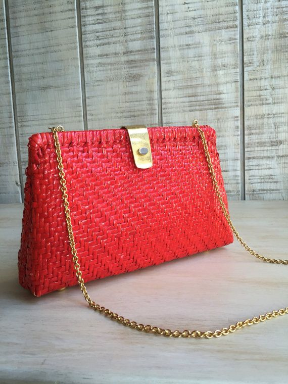 "Vintage ""Walborg"" Red Straw Hardshell Bag with Gold Chain Accent - Makes for a Chic Bag for this upcoming Holiday/Winter Wedding Season… Having a Beach Wedding or attending one? This is the PERFECT over the shoulder / handbag that will set you apart from the rest…  Red Beach Wedding Ideas for Bride, Christmas Wedding Accessories, Red Wedding on the Beach Bag, Straw Walborg Woven Bag, Special Occasion"