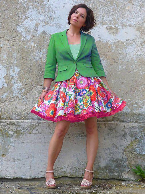 FuFu-Sukne / FuFu sukně květovaná1 s pink spodničkou