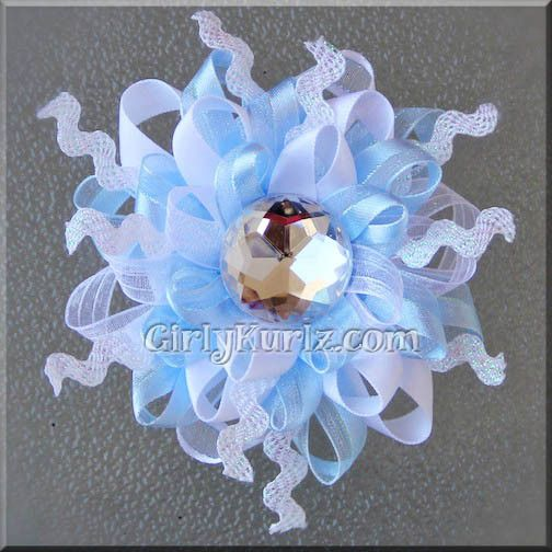 Wild, Funky Snowflake Blue Hair Bow