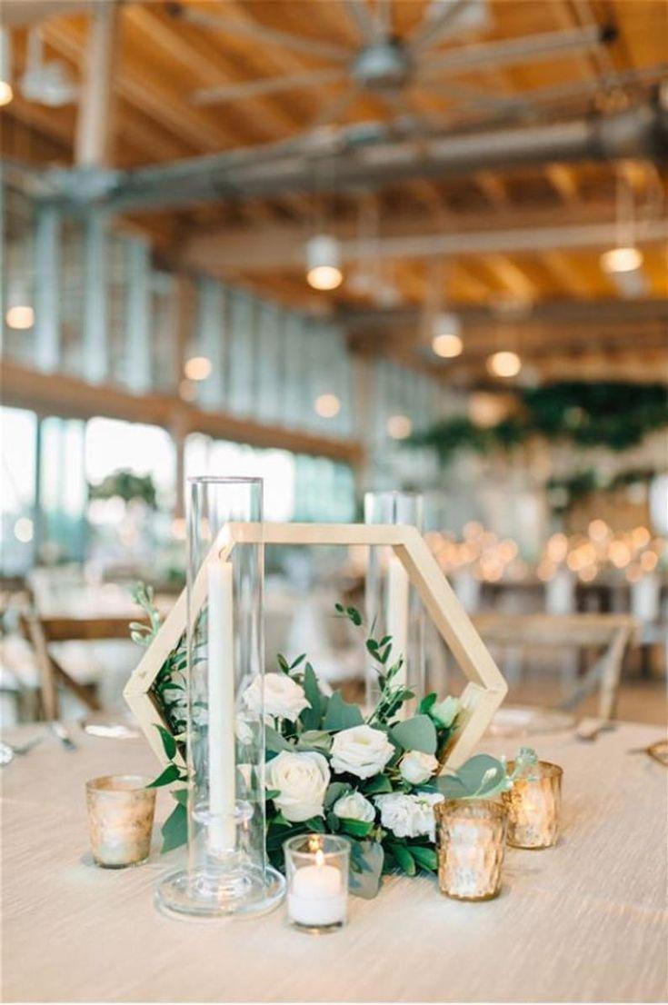 Gold Modern Rectangular Tall Centerpiece In 2020 Geometric Wedding Decor Geometric Terrarium Wedding Wedding Floral Centerpieces