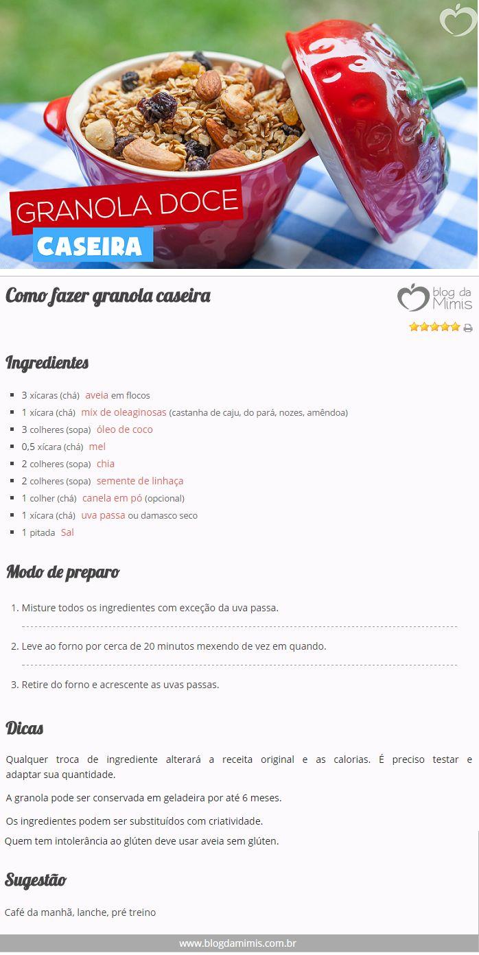 Como fazer granola caseira - Blog da Mimis #dieta #receita #granola