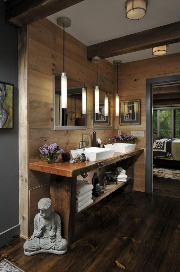 salle de bain rustique, comptoir bois brut, intérieur style chalet moderne et statuette bouddha