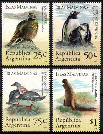 ARGENTINA/SELLOS, 1994 - ISLAS MALVINAS -SISTEMA ECOLOGICO AUSTRAL - AVES: PINGUINO DE VINCHA - PATO VAPOR - YAL AUSTRAL - FAUNA MARINA: ELEFANTE MARINO - CAT ARG 1973/76 - CAT. GJ 2678/81 - 4 VALORES - NUEVO