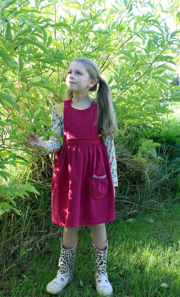 The Tui Pinafore PDF sewing pattern  by Below The Kōwhai $14 in childrens sizes 1-10 || This version is in needlechord which is perfect for winter!