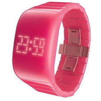 Relojes Rosas: Es un reloj divertido en sí mismo y de lo más original, tiene una esfera sin botones que es táctil, http://www.tutunca.es/reloj-led-digital-odm-ilumi-color-rosa
