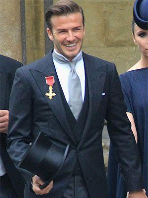 David Beckham Royal Wedding - morning suit with dark vest, grey tie, wing tip collar