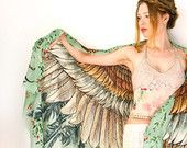 Wings scarf, bohemian bird feathers shawl, vintage green, hand painted, digital print, sarong, perfect gift
