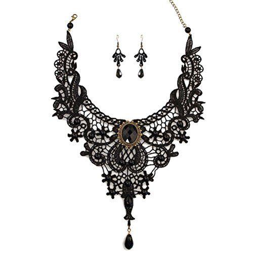 Charm.L Grace Black Lace Gothic Lolita Pendant Choker Necklace Earrings Set Charm.L Grace http://www.amazon.com/dp/B00KTANRSI/ref=cm_sw_r_pi_dp_QVWhwb1PHSP97