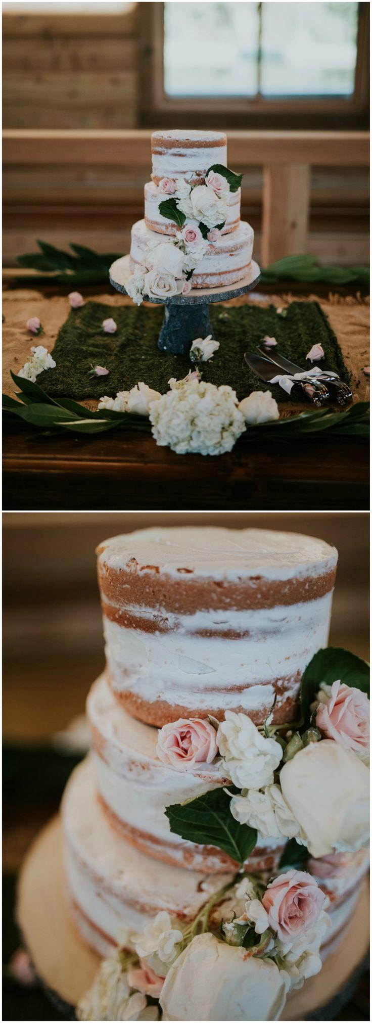 Romantic naked cake, white and pastel pink roses, rustic-chic wedding cake // Erin Turner Photo