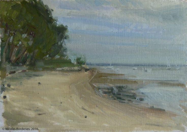 Le bassin d'Arcachon vue de la plage de Petit Piquey, oil on wood, 19 x 27 cm, 2016. 6/8