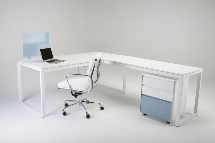 Our MD desk and extension range, comes in a large choice of sizes and colours. Shown back with our White Conference chair and Flat front three drawer unit.