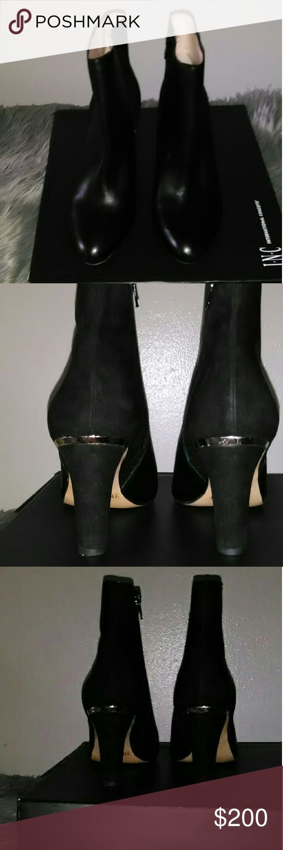 I.N.C leather suede booties Black leather suede booties with gold trimming around the heel brand new never been worn with original box price is firm. INC International Concepts Shoes Ankle Boots & Booties