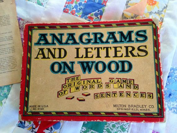 Vintage Anagram Word Game Neat Graphics Wooden by 9PatchBlock