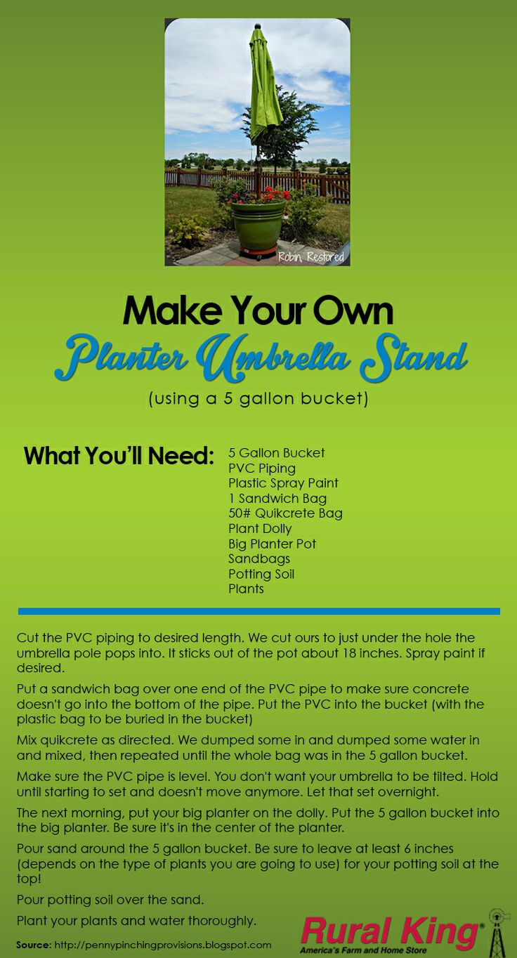 USE A RURAL KING 5 GAL. BUCKET TO MAKE YOUR OWN PLANTER UMBRELLA STAND! Easy, DIY, & Cost Effective. This blog gives you all the details! #ruralking #5gallonbucket #planters #gardening #umbrella  www.ruralking.com