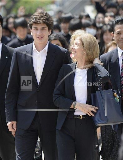 U.S. Ambassador to Japan Caroline Kennedy (R) visits Sendai Nika Senior High School in Miyagi Prefecture with her son John Schlossberg