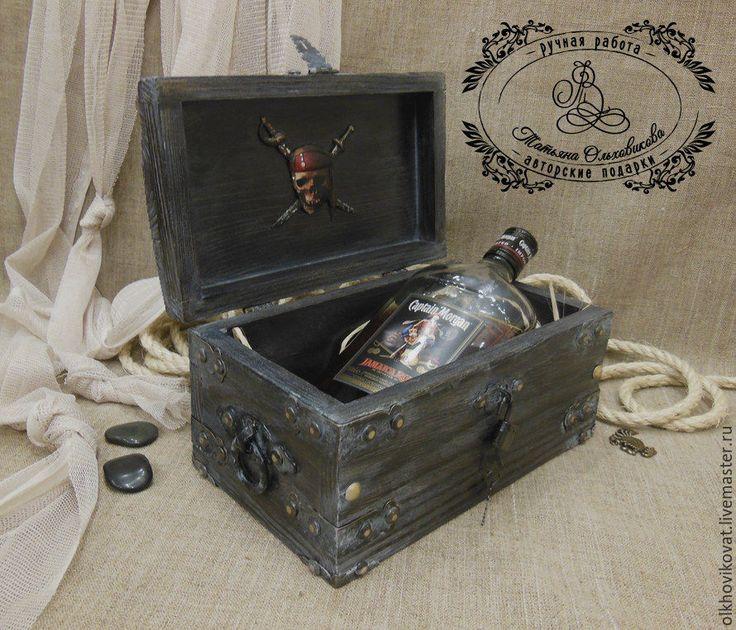 """Купить Пиратский сундук """"Капитан Мортон"""". - черный, карта, старинный, корабль, пираты, путешествие"""