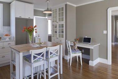 cuisine-meubles-blanc-peinture-gris-taupe | Décoration maison, Idées deco, Conseils et couleurs peinture