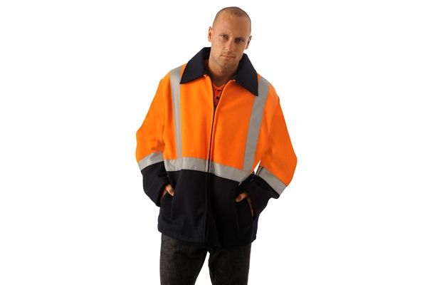 Huski Hi Visibility Wool Blend Jacket Workwear Flame Retardant Orange Black New