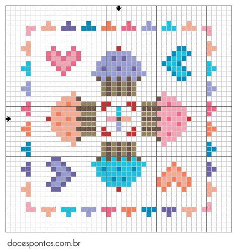 Doces Pontos: Cupcake Biscornu pattern