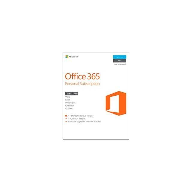 Microsoft Office 365 Personal 32-64-bit English 1 Year Subscription (No Media, 1 License, 1 PC-Mac Installs)