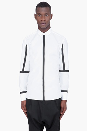 NEIL BARRETT White Slim Rubber Stripe Shirt