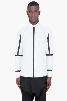 NEIL BARRETT White Slim Rubber Stripe Shirt