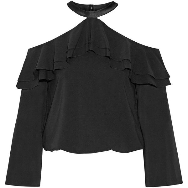 Alice + Olivia Layla ruffled satin-trimmed silk-blend top (2.835 ARS) ❤ liked on Polyvore featuring tops, shirts, blouses, crop top, blusas, black, ruffle crop top, frill crop top, flutter-sleeve top and frill sleeve top