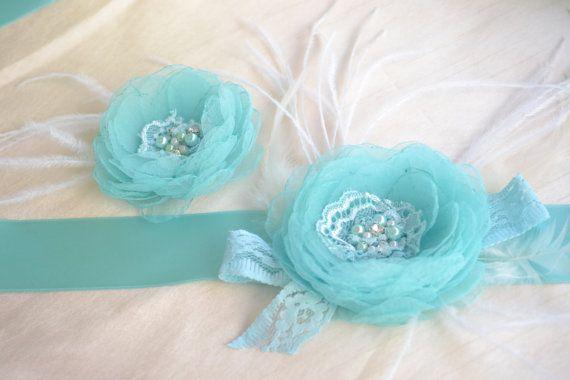 Handcrafted Paradise Fabric Flower Wedding Dress Turquoise / Tiffany blue Bridal Sash Belt and Hair Clip Set on Etsy, $61.50
