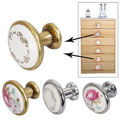 4x Antique Ceramique Ronde Poignée Bouton de Porte Armoire Cabinets Tiroir
