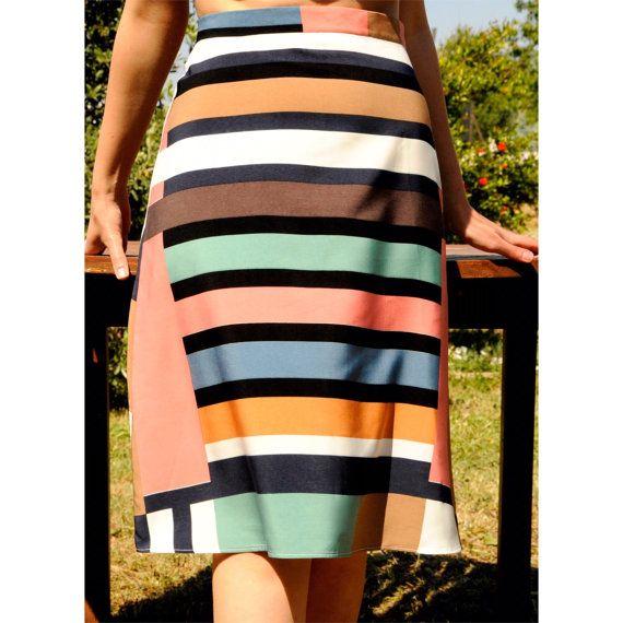Skirt  Handmade Skirt  Midi Skirt  Flared Skirt  by RompStudio